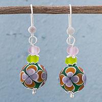 Art Glass Dangle Earrings Colorful Magic (peru)