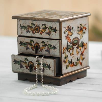 Reverse painted glass decorative chest, 'Colonial Sunflower' - Reverse Painted Glass Decorative Box in Off White from Peru