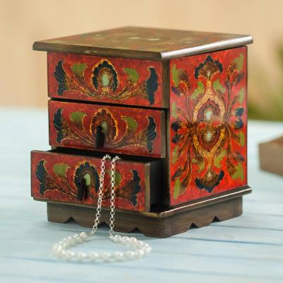 Reverse painted glass decorative chest, Joyous Red Enchantment