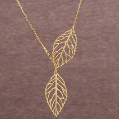 Gold plated sterling silver lariat necklace, 'Freedom of the Wind' - 18k Gold Plated Sterling Silver Leaf Necklace from Peru