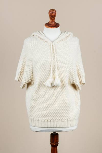 100% alpaca hooded sweater, 'Alabaster Honeycomb' - Short Sleeved 100% Alpaca Hooded Pullover in Alabaster