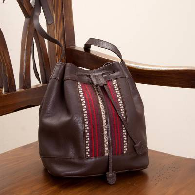 Leather and alpaca accent bucket shoulder bag, Chocolate Passion