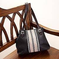 Leather and alpaca accent shoulder bag, 'Andean Waves' - Black Leather and Alpaca Accent Shoulder Bag from Peru