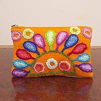 Wool cosmetic bag, 'Cheerful Colors' - Woven Orange Wool Cosmetic Bag from Peru