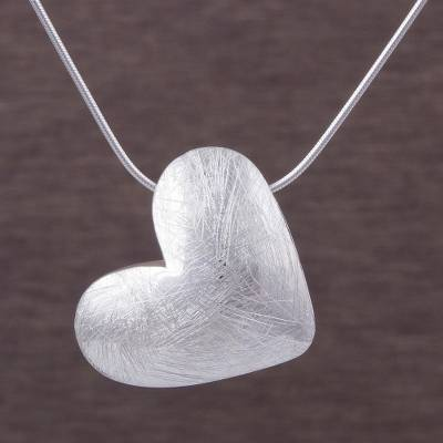 Sterling silver pendant necklace, 'Kindhearted' (1 inch) - Sterling Silver 1 Inch Heart Pendant Necklace from Peru