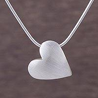Sterling silver pendant necklace, 'Kindhearted' (0.5 inch) - Sterling Silver .5 Inch Heart Pendant Necklace from Peru