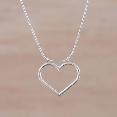 Sterling silver pendant necklace, 'Sweet Sensation' - Sterling Silver Heart Pendant Necklace from Peru