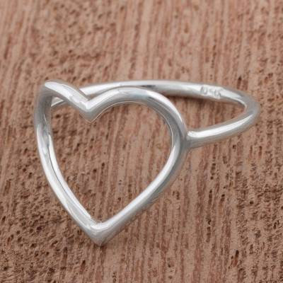 promise rings endless love - Silver 950 Heart Shaped Cocktail Ring from Peru