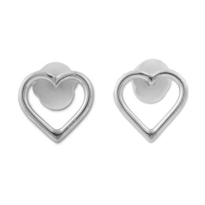 Silver Heart Shaped Stud Earrings from Peru
