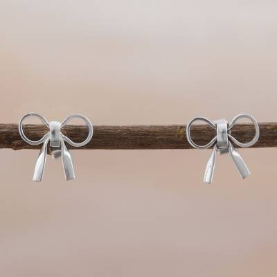 Sterling silver stud earrings, 'Charming Bows' - Sterling Silver Bow Shaped Stud Earrings from Peru