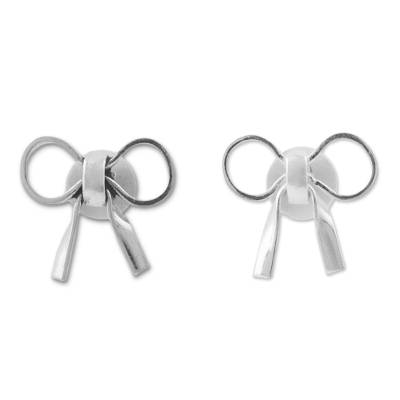 Sterling Silver Bow Shaped Stud Earrings from Peru