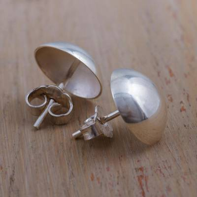 Silver button earrings, 'Original Charm' - Round Silver 950 Button Earrings from Peru