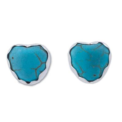 Silver and Reconstituted Turquoise Stud Earrings from Peru