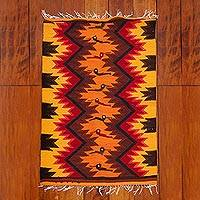 Wool area rug, 'Hummingbird Path' (2x3) - Handwoven Geometric Bird-Themed 2x3 Wool Area Rug from Peru