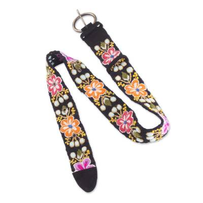 Multicolor Floral Wool Belt from Peru with Suede Accents