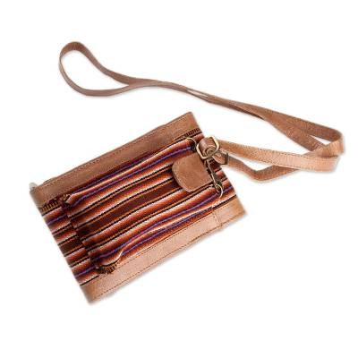 Leather and Wool Wallet Bag from Peru