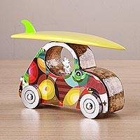 Wood and aluminum sculpture, 'Trip to the Beach' - Signed Wood and Aluminum Car Sculpture from Peru