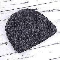 100% alpaca hat, 'Smoky Enchantment' - Hand Knit 100% Alpaca Hat in Smoke and Graphite from Peru