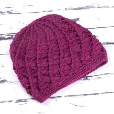 100% alpaca hat, 'Berry Waves' - Hand Knit 100% Alpaca Wool Hat in Berry from Peru