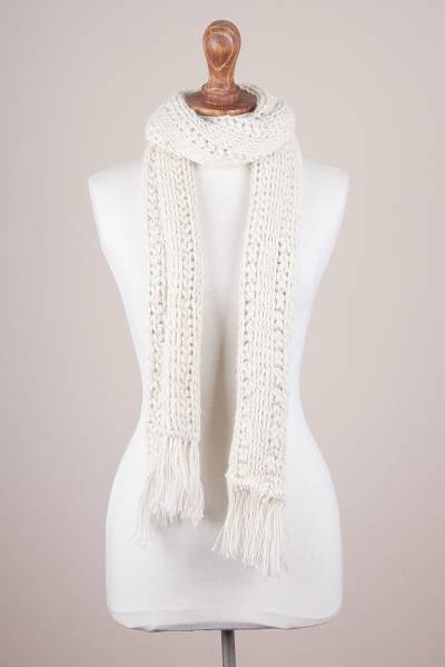 100% alpaca scarf, 'Ivory Sands' - Hand Knit 100% Alpaca Fringed Scarf in Ivory from Peru