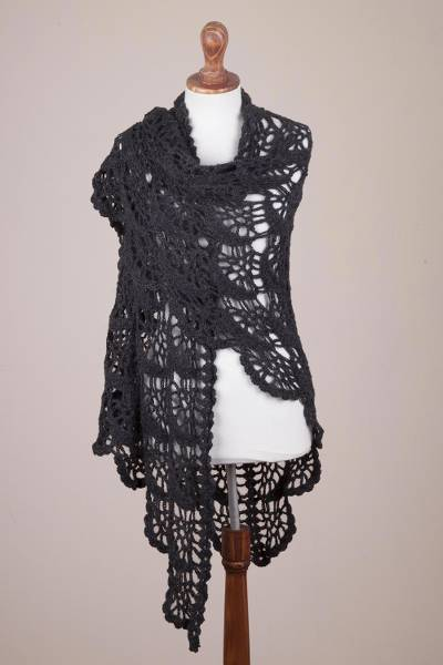 100% alpaca shawl, 'Slate Crescents' - Hand Crocheted Alpaca Shawl in Slate Grey from Peru