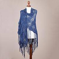 100% alpaca shawl, 'Azure Web' - Hand Crocheted Fringed Alpaca Shawl in Azure from Peru