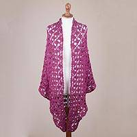 100% alpaca shawl, 'Magenta Flowers' - Crocheted Floral Alpaca Shawl in Magenta from Peru
