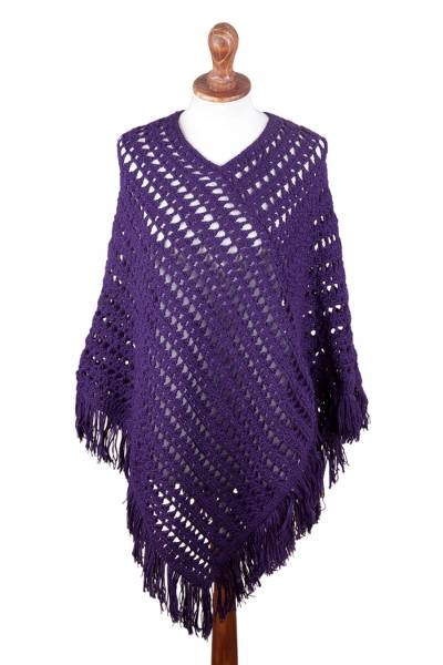 Hand Crocheted Purple Poncho in 100 Percent Alpaca Wool