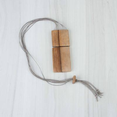 Wood statement necklace, 'Square Force' - Handcrafted Square Wood Statement Necklace from Peru