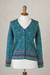100% alpaca cardigan, 'Spirit of the Andes' - Soft Alpaca Button Up Cardigan Sweater from Peru (image 2c) thumbail