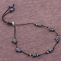 Silver accent hematite station bracelet, 'Star Encounter' - Andean Hematite Star Bracelet with Sterling Silver Accents