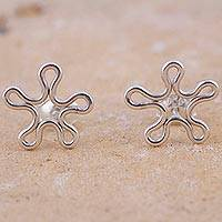 Sterling silver button earrings, 'Abstract Flowers' - Sterling Silver Flower Button Earrings from Peru