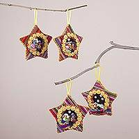 Cotton blend ornaments, 'Nativity Music' (set of 4) - Four Cotton Blend Nativity Scene Star Ornaments from Peru