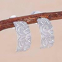 Sterling silver half-hoop earrings, 'Sidereal Beauty' - Sterling Silver Half-Hoop Earrings from Thailand