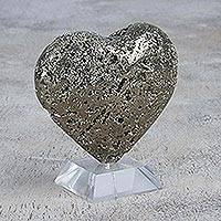 Pyrite statuette, 'Glittering Heart' - Pyrite Heart-Shaped Statuette and Base from Peru