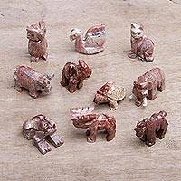 Marble resin figurines, 'Good Luck Animals' (set of 10) - Ten Multicolored Marble Resin Animal Figurines from Peru
