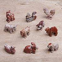 Marble resin figurines, 'Navidad Animals' - Ten Artisan Handcrafted Marble Resin Animal Figurines