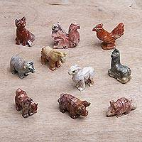 Marble resin figurines, 'Andean Zoo' (set of 10) - Set of Ten Colorful Marble Resin Animal Figurines from Peru