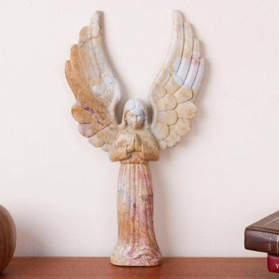 Marble resin sculpture, 'Angelic Blessing' - Marble Resin Sculpture of Expressive Peruvian Angel