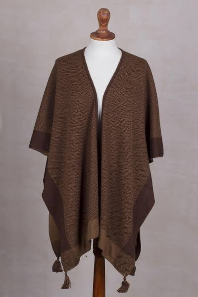 Alpaca blend ruana, Sweet and Soft in Chestnut