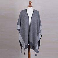 Alpaca blend ruana, 'Sweet and Soft in Graphite' - Reversible Grey Alpaca Blend Ruana from Peru