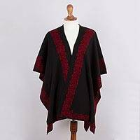 Alpaca blend ruana, 'Rose Attraction' - Black and Red Reversible Alpaca Blend Ruana from Peru