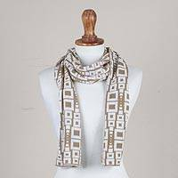 Alpaca blend scarf, 'Andean Windows in Golden Brown' - Alpaca Blend Scarf in Golden Brown and Eggshell from Peru