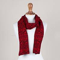 Alpaca blend scarf, 'Inca Paprika' - Knit Alpaca Blend Scarf in Black and Paprika from Peru
