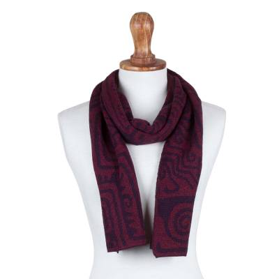 Alpaca blend scarf, 'Eggplant Chan Chan' - Alpaca Blend Scarf in Eggplant and Burgundy from Peru