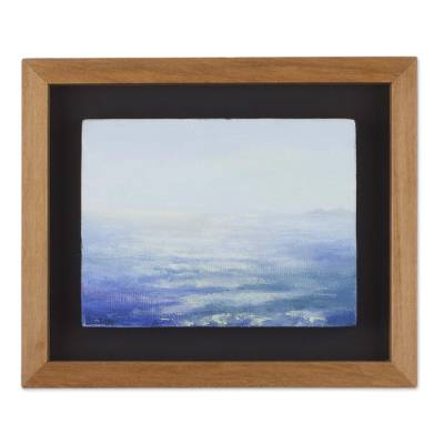 'Infinity Sky' - Signed Impressionist Seascape Painting with Frame from Peru