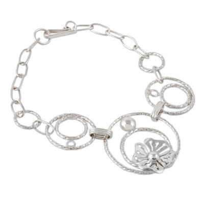 Handcrafted Sterling Silver Circle Link Flower Pendant Bracelet