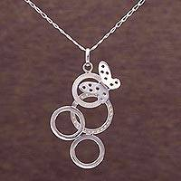 Sterling silver pendant necklace, 'Butterfly Loops' - Sterling Silver Butterfly Pendant Necklace from Peru
