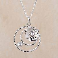 Sterling silver pendant necklace, 'Stellar Flower' - 925 Sterling Silver Floral Pendant Necklace from Peru