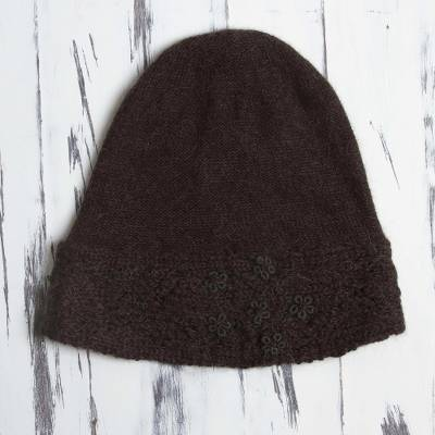 100% alpaca hat, 'Flowery Hillside in Chocolate' - 100% Alpaca Embroidered Floral Hat in Chocolate from Peru